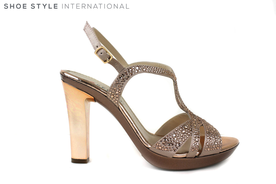 Repo 46413, Sling-back high heel open toe shoe. Colour Rose Gold with Rose Gold diamante detail across the front straps. Perfect shoe for occasion wear. Shoe Style International