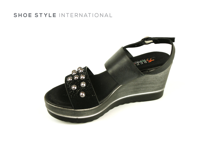 Repo Sandals, Repo Shoes, Repo 19208 Black Wedge Open Toe Sandal, Shoe Style International Wexford Gorey Ireland, Shoes online Ireland