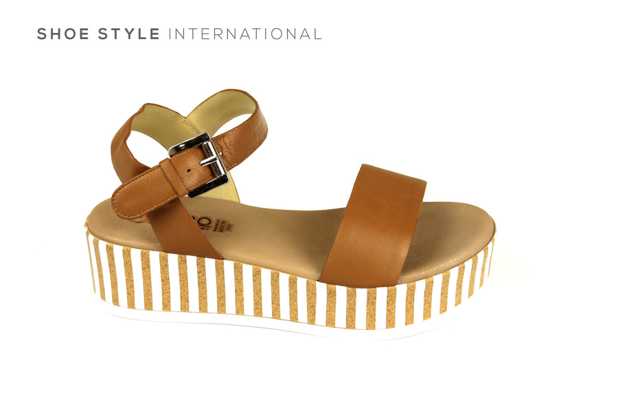Repo Sandals, Repo Shoes Made in Italy, Flatform Sandal in Tan with Ankle Strap to close Shoes Online Ireland, Shoe Style International, Wexford Gorey Ireland