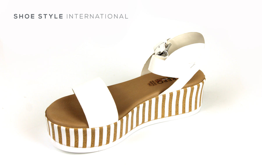 Repo Sandals, Repo Shoes Made in Italy, Flatform Sandal in White with Ankle Strap to close Shoes Online Ireland, Shoe Style International, Wexford Gorey Ireland