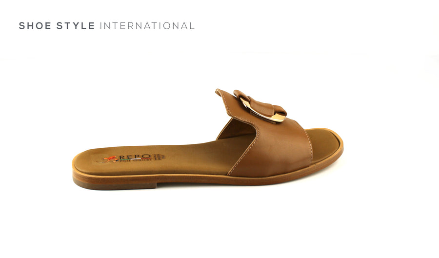 PHIL GATIER by Repo Shoes, Repo 70124 Flat Slider in Tan with Gold Detail, Shoes Online Ireland, Shoe Style International Wexford, Gorey, Ireland