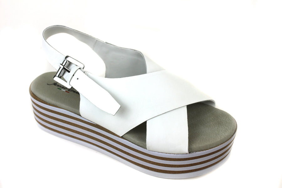 Repo, 54259, Platform Sandal with open toe, there is a leather strap across the foot in a criss cross design, colour is white, Plaform unit is in colour tan and white, Shoe Style International, Wexford Gorey Ireland