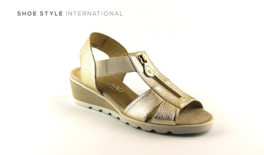 Scolaro 10663 Gold Wedge Sandal with in Mettalic Gold with Front Zip Clolsing, Shoe_Style_International-Wexford-Gorey-Ireland