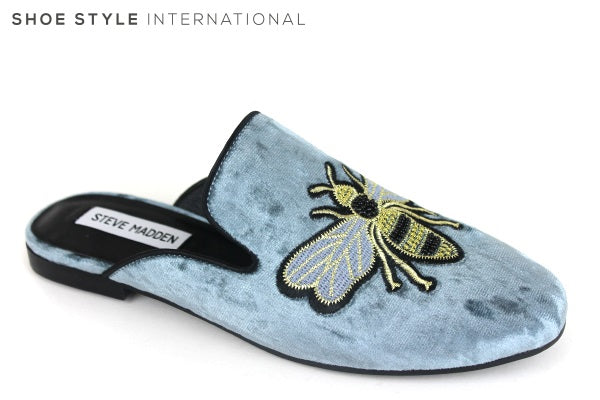 Steve Madden Hugh, Slide into these Slipper Mules, These Mules have a design of a bee at the front of Mule. Colour: Blue, Shoe Style International
