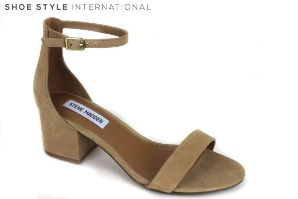 Steve Madden Irenne block low heel sandal with ankle strap, Colour Tan, Shoe Style International