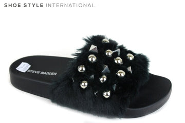 Steve Madden Yeah faux fur sliders, colour black with metallic embellishment across the strap at the front of the slider. Shoe Style International
