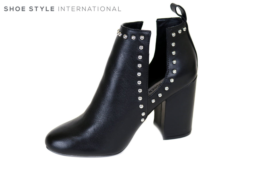 Steve Madden Naomi, High Block Heel Bootie with Side Dipped Opening. Slip-on BootieIreland Shoe Shops online, Shoe Style International, Location Wexford Gorey, Ireland