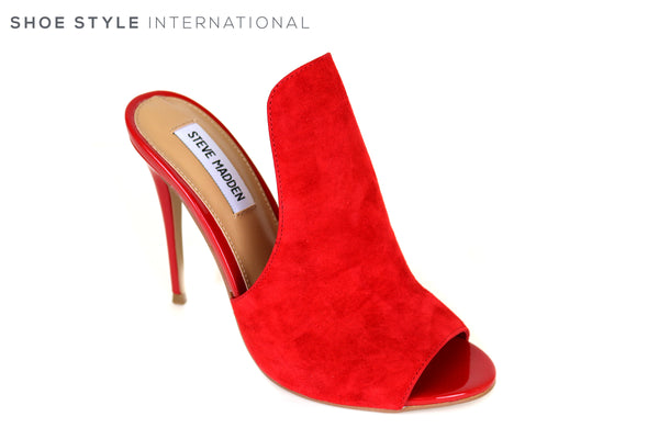b5b675c70e Steve Madden Sinful Peep Toe High Heel Red Suede – Shoe Style International