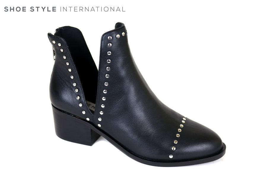 Steve Madden Conspire, Mid High Heel Ankle Boot with Side openings and silver detail, Back Zip Closure, Ireland Shoe Shops online, Shoe Style International, Location Wexford Gorey, Ireland