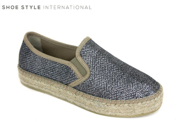 Toni Pons Fonda Espradrille shoes, Colour Pewter from Shoe Style International Wexford Gorey Ireland