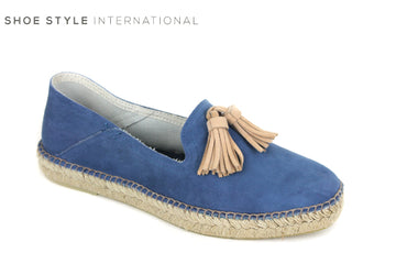 Toni Pons Ivet, Flatform Espadrilles, colour blue with cream Tassel slip on shoes, Shoe Style International Wexford Gorey Ireland
