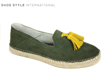 Toni Pons Ivet, Flatform Espadrilles, colour green with Yellow Tassel slip on shoes, Shoe Style International Wexford Gorey Ireland