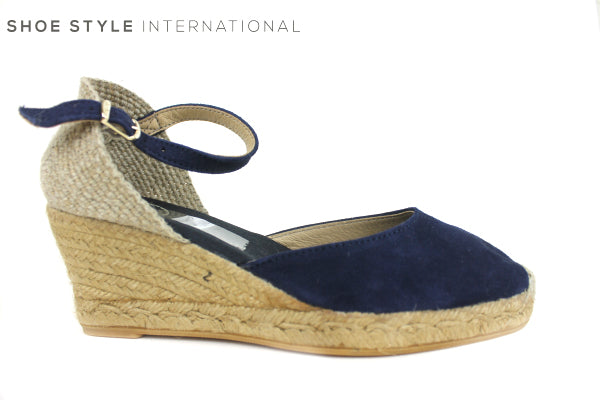 Toni Pons Lloret, espadrille wedge with Ankle strap colour Navy, shoe style international wexford gorey ireland