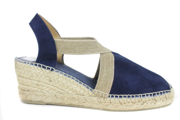 Tona Pons Tona Espadrille with ankle strap Wedge Colour Navy, Suede Upper Fabric lining Shoe Style International Wexford Gorey Ireland