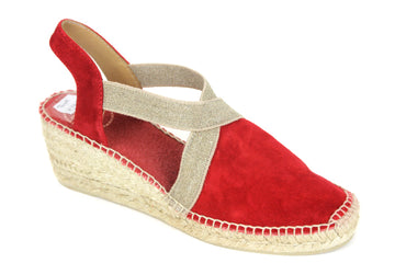Tona Pons Tona Espadrille with ankle strap Wedge Colour Red Suede Upper Fabric lining Shoe Style International Wexford Gorey Ireland