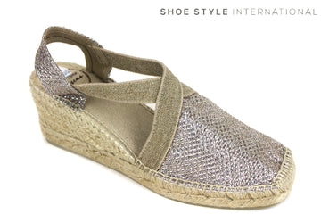 Toni Pons Style Triton, Espadrille Wedge shoes, colour Gold, pull on soe with ankle strap, shoe style international wexford gorey ireland