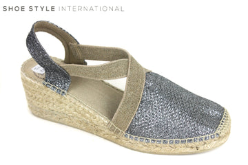 Toni Pons Style Triton, Espadrille Wedge shoes, colour Pewter, pull on shoe with ankle strap, shoe style international wexford gorey ireland