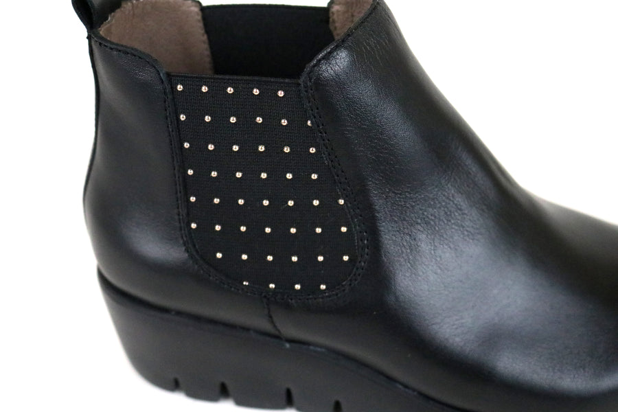Wonders 33139, Wondersfly lightweight Ankle Wedge Boot, Colour Black with Encrusted Silver Studs on the side panel.  Ireland Shoe Shops online, Shoe Style International, Location Wexford Gorey and Ireland