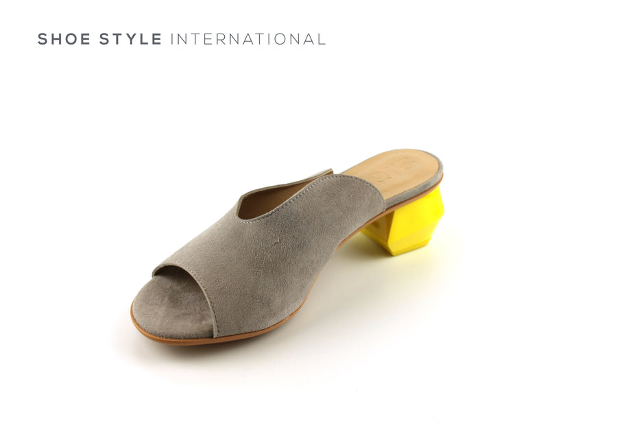 Wonders 6802 Grey Suede Peep Toe Mule with a Yellow Heel, Shoe_Style_International-Wexford-Gorey-Ireland