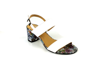 Perlato 11096 White Multi Colour Block Mid Heel Open Toe Sandal with Slingback, Ireland Shoe Shops online, Shoe Style International, Location Wexford Gorey, Ireland