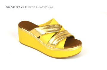Inuovo Sandals, Inuovo Shoes, Open  Toe Wedge Mule in Yellow, Shoe Style International Location Wexford Gorey Ireland, Shoes Online Ireland