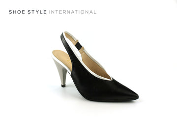 Lodi Senar Elasticated Slingback High Heel with a closed toe, colour Black, Shoe_Style_International-Wexford-Gorey-Ireland