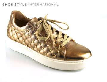 Marco Moreo 481 Gold Quilted Shoe lace up Trainer with Gold Stud detail, Ireland Shoe Shops online, Shoe Style International, Location Wexford Gorey, Ireland