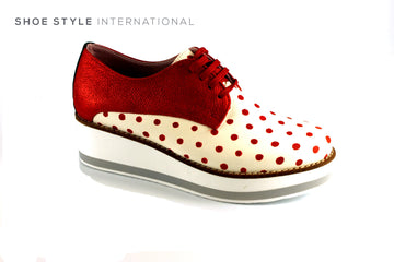 Maria Leon Lace Up Casual Shoe with Polka dot detail, in Red and Cream, Ireland Shoe Shops online, Shoe Style International, Location Wexford Gorey, Ireland