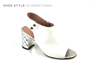 Simonetta BL 102, White Leather Block High Heel with Peep Toe, Ireland Shoe Shops online, Shoe Style International, Location Wexford Gorey, Ireland