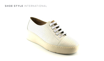 Wonders 8322 White Slip-on Wedge Sports Leather shoe, Shoe_Style_International-Wexford-Gorey-Ireland