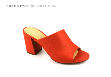 Evaluna Shoes, Coral Colour Mule with Peep Toe and Block High Heel, Autumn-2018-Shoe_Shops-online-Shoe_Style_International-Wexford-Gorey-Ireland