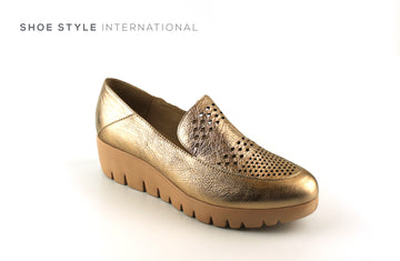 Wonders 33160, Slip-on Closed Toe Wedge Casual Shoe Colour Bronze, Shoe_Style_International-Wexford-Gorey-Ireland
