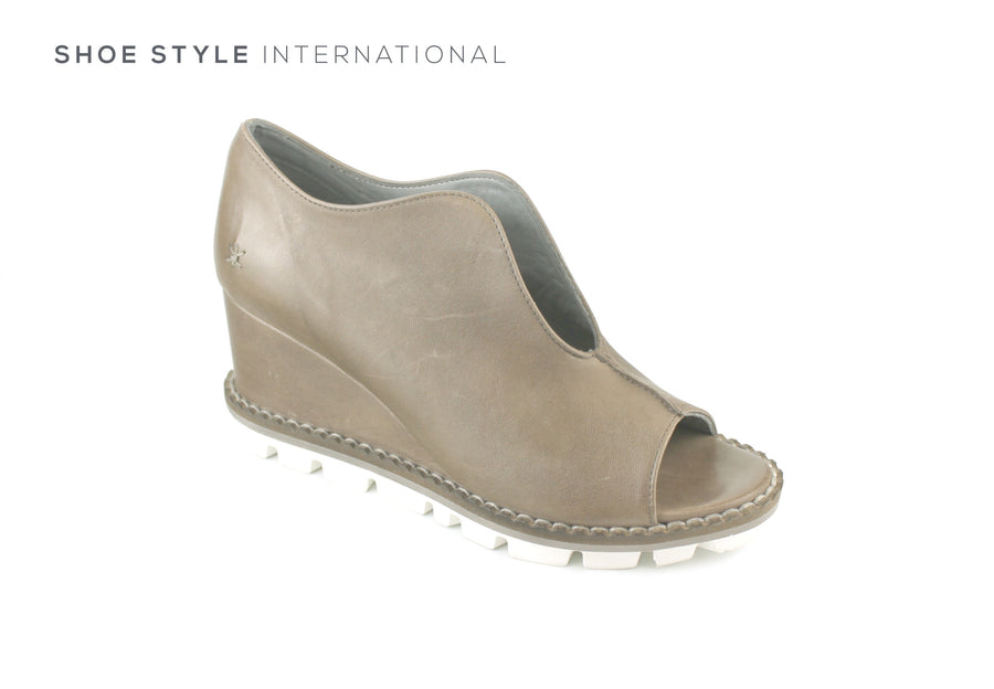 Patrizia Bonfanti Genda, Soft Leather in Ash Colour, Peep Toe Slip On Wedge, Ireland Shoe Shops online, Shoe Style International, Location Wexford Gorey, Ireland