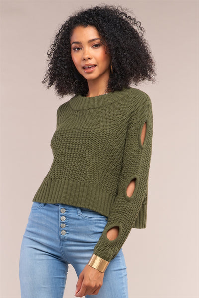 Olive 3 hole sleeve sweater