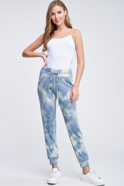 White Birch Blue Tie dye joggers