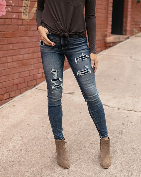 Grace and Lace Pateched Distressed Mid Rise Denim