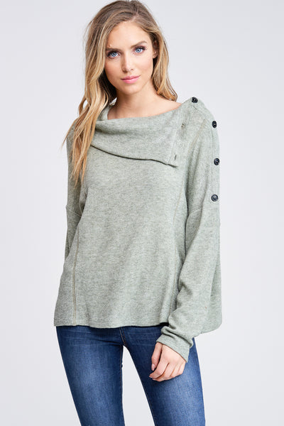 White Birch long sleeve knit top with button detail