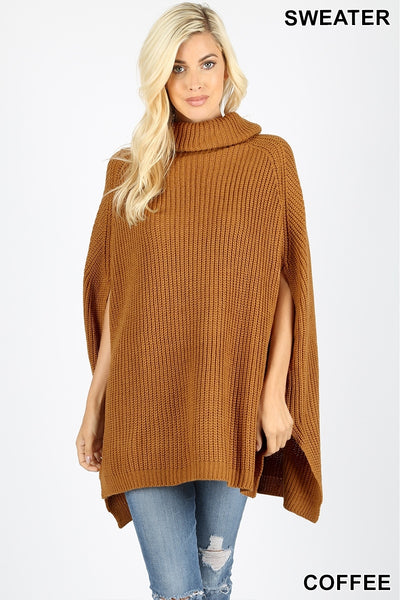 Turtleneck poncho Knit Sweater