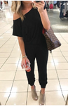 Black one shoulder jogger jumpsuit