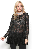 Sheer lace long sleeve tunic top