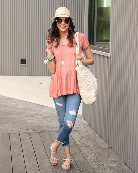 Grace & Lace Fable Peplum Tee
