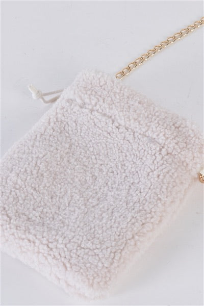 Ivory faux fur plush crossbody bag