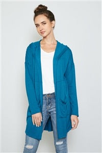 Teal Blue hooded cardigan
