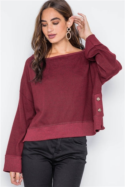 Burgundy side button sweater