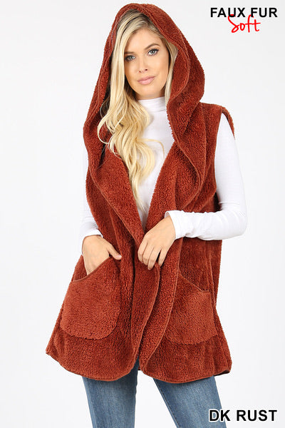 Zenana Hooded Faux Fur Vest