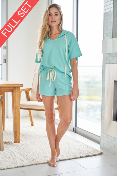 White Birch Mint green shorts lounge set