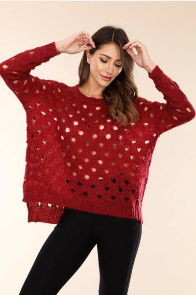 Wine knit sweater with open holes