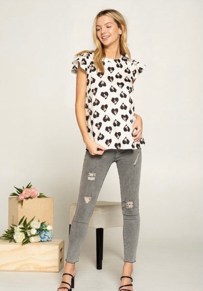 Tiered Ruffle sleeve heart blouse