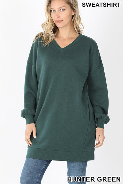 Zenana Oversized V Neck Tunic Sweatshirt