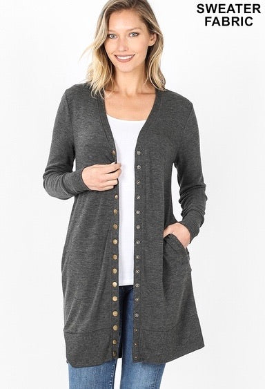 Zenana Snap Button Cardigan